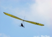 Flying yellow glider